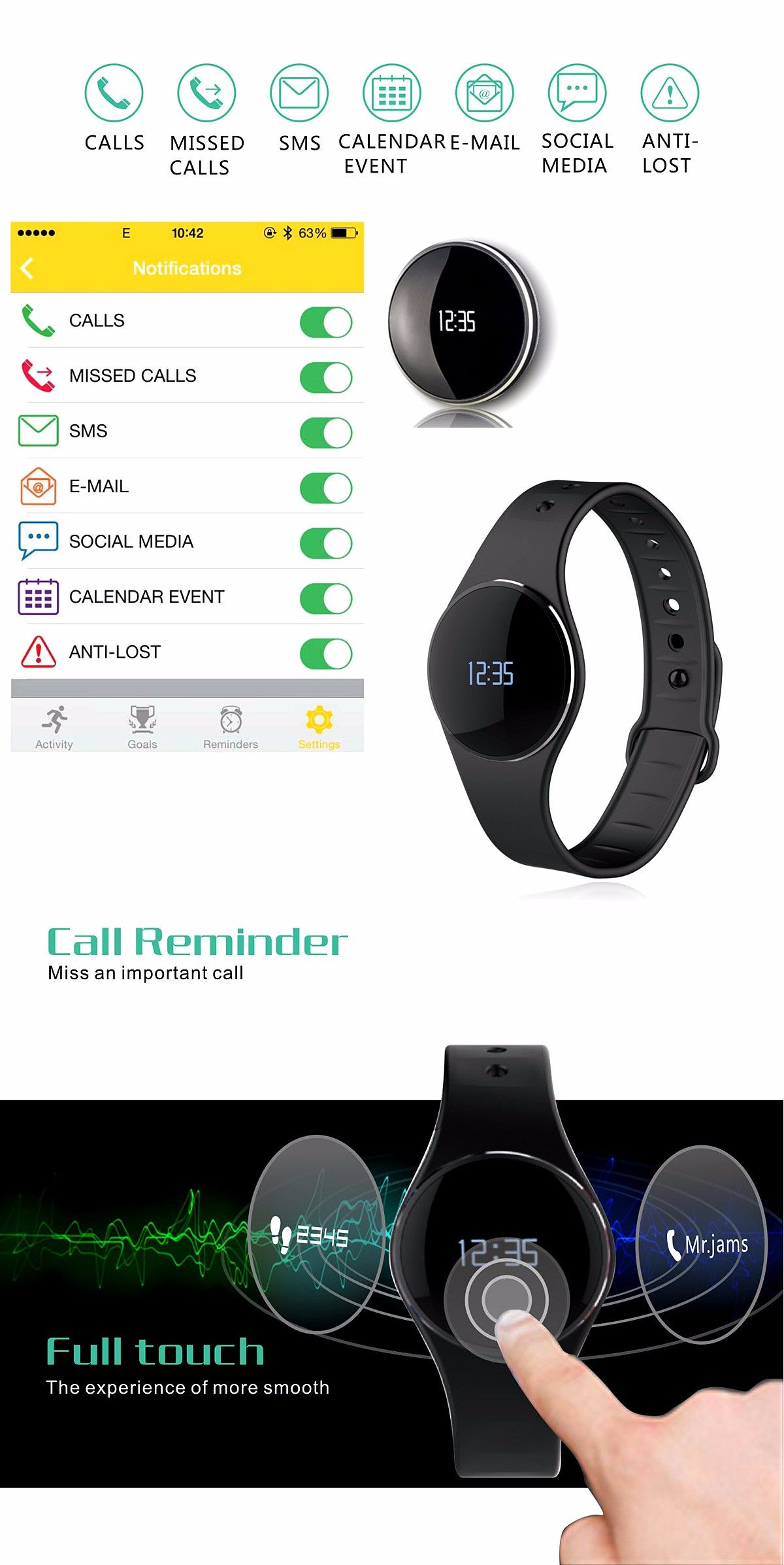 L16 Smart Bracelet Watch Bluetooth 4.0 SMS Reminder Sleep Tracker Calorie Burning for Sports