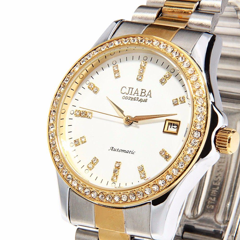 CJIABA GA1022 Diamond Scale Date Display Automatic Mechanical Movt Watch for Men