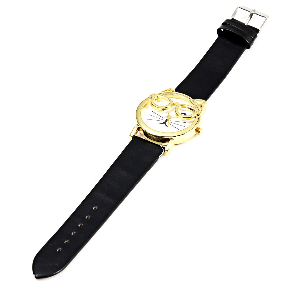 Round Dial Cat Glasses Shape Dial Wristwatch Female Japan Quartz Watch Leather Band