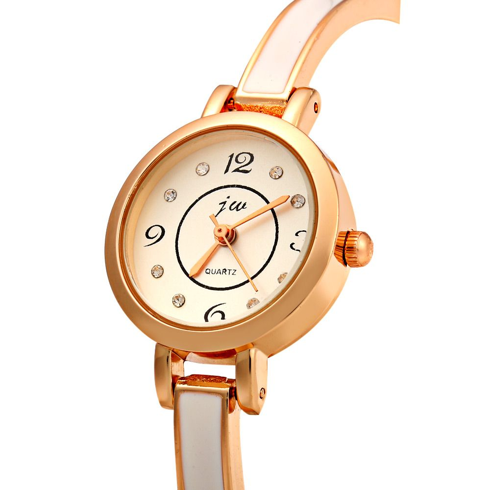 JW 8072 Diamond Scale Round Dial Female Quartz Watch Alloy Band