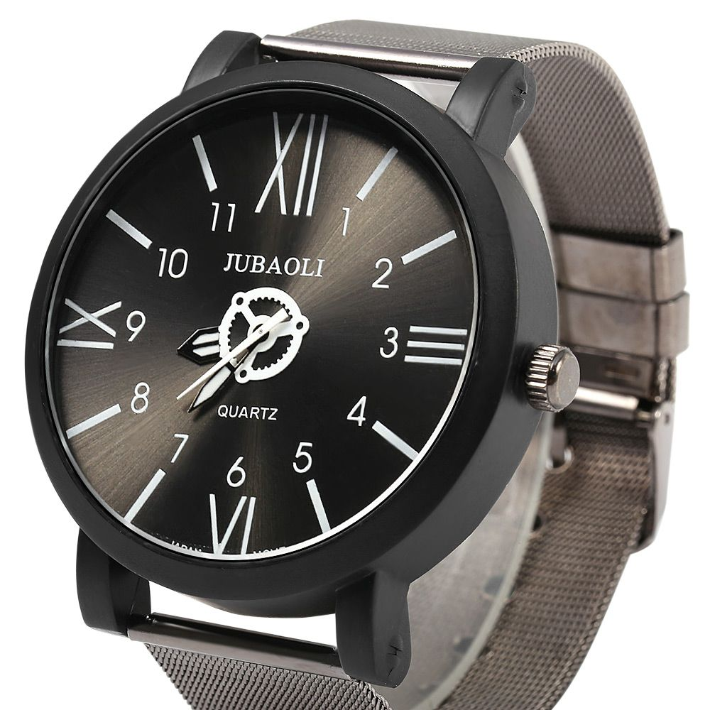 JUBAOLI 1020 Male Japan Quartz Watch Roman Number + Arabic number Scales Steel Net Band