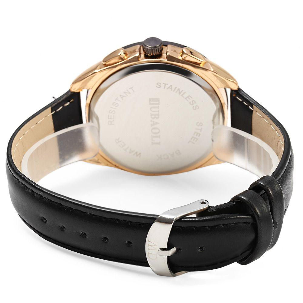 JUBAOLI 1044 English Letter Cross Decoration Male Quartz Watch Genuine Leather Band