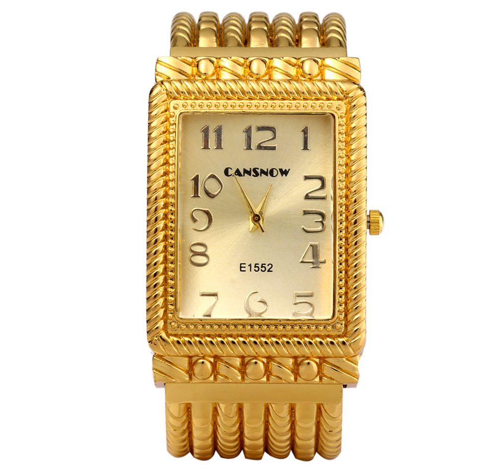 Cansnow E1552 Women Quartz Watch Golden Bracelet Diamond Square Dial