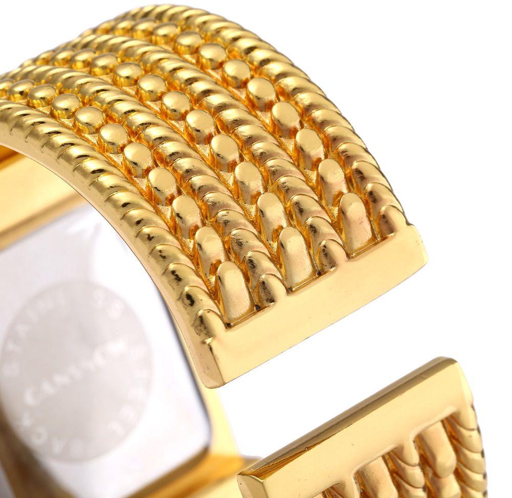 Cansnow E1552 Women Quartz Watch Golden Bracelet Diamond Square Dial