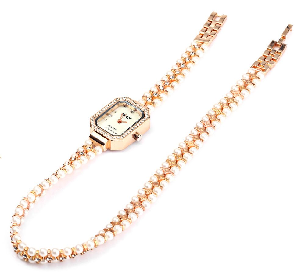 IE-LY 627 Female Diamond Quartz Watch with Pearl Band Octagon Dial Stainless Steel Wristband