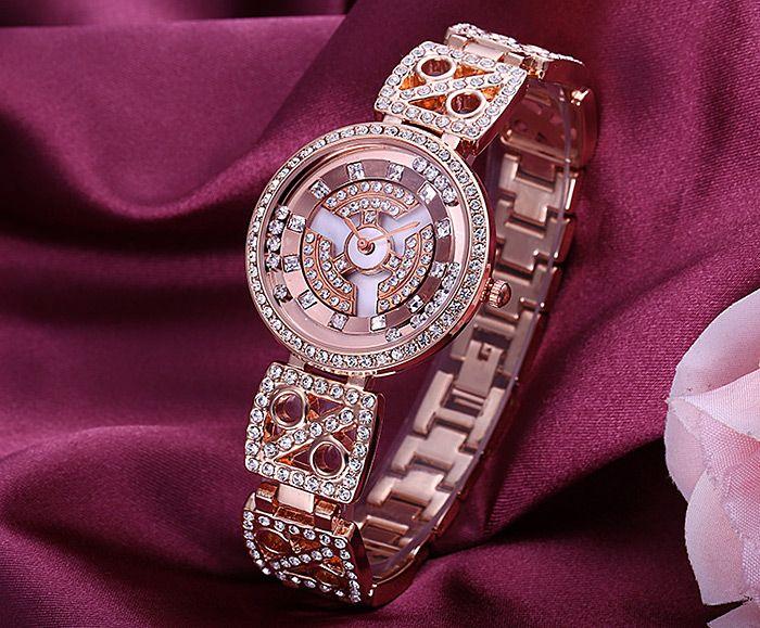 WeiQin W4755 Diamond Scale Rotatable Bezel Female Quartz Watch