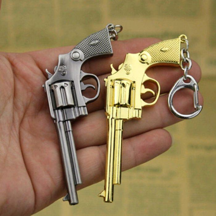 9cm Key Chain Revolver Hanging Pendant Metal Keyring for Bag Decoration