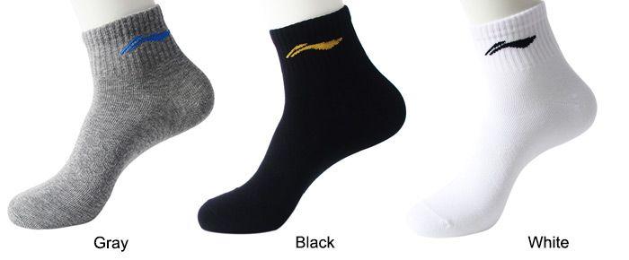 LI-NING Men Breathable Cotton Athletic Sport Socks