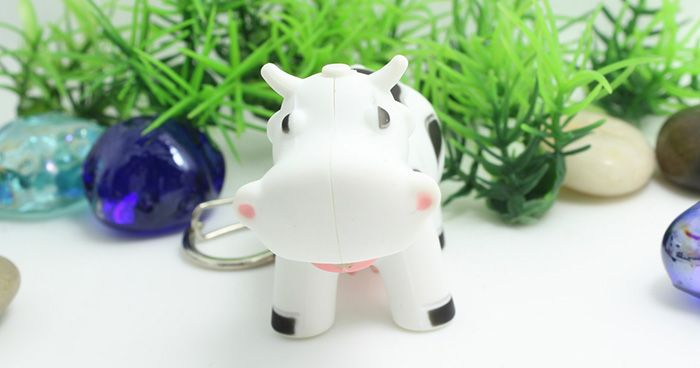 Ox Style Key Chain Hanging Pendant ABS Voice LED Light Control Bag Decoration
