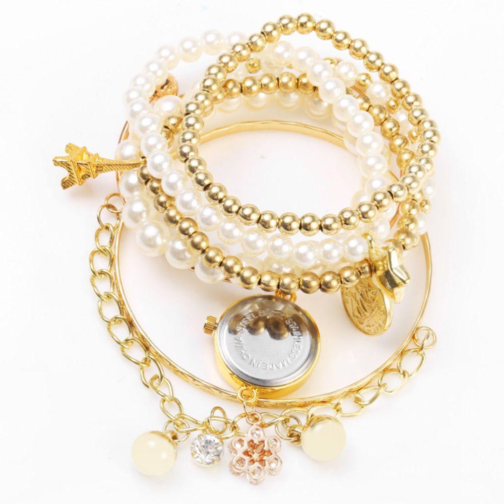 JUBAOLI 1107 Multilayer Quartz Chain Watch Snowflake Pendant Round Dial for Women