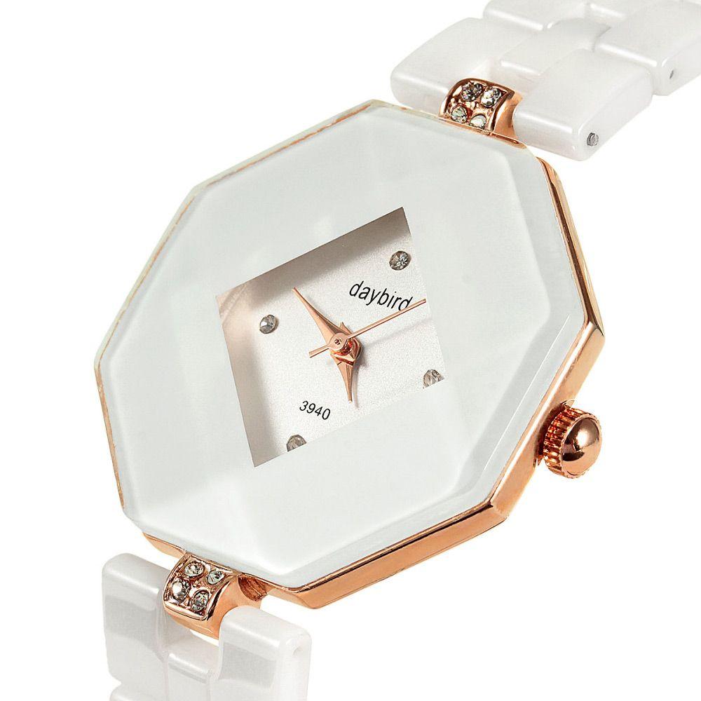 Daybird 3940 Female Quartz Watch Fashion Diamond Ceramic Band Wristwatch
