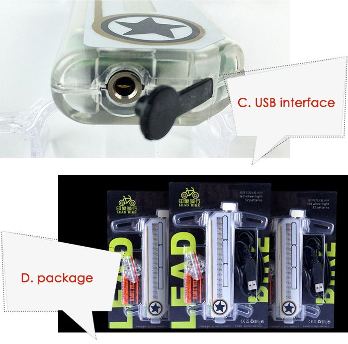 LEADBIKE A04 Bicycle Spoke Light with USB Interface