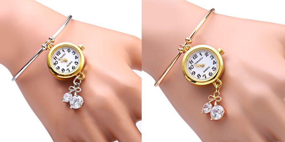 JUBAOLI 1105 Bracelet Female Quartz with Diamond Pendant Round Dial