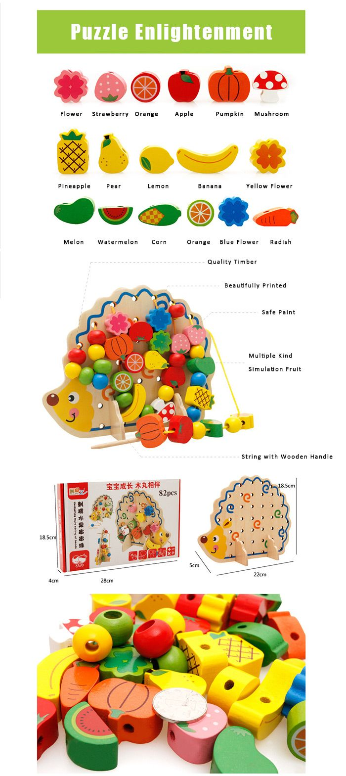 Hedgehog Fruit Stringing Bead Stackable Building Block Educational Toy for Children