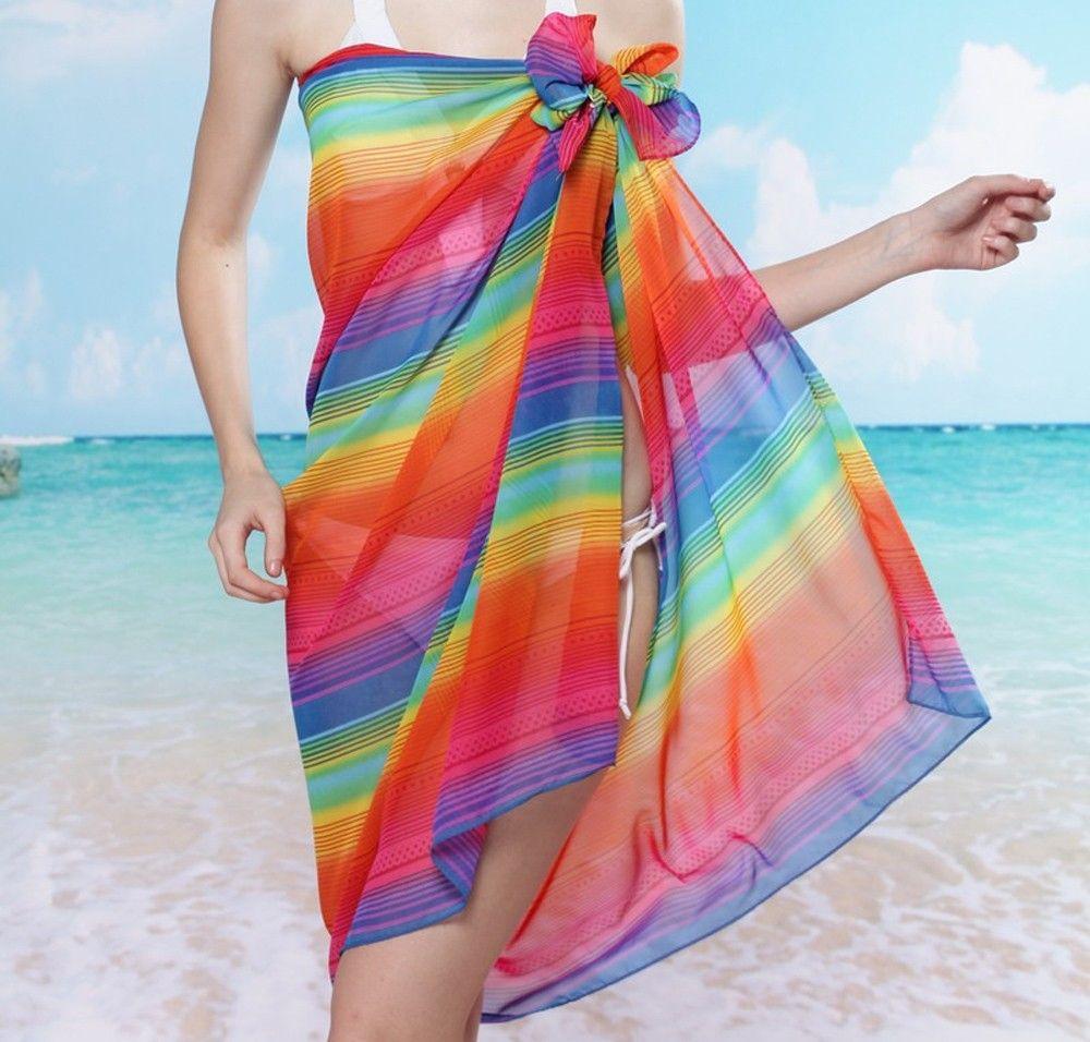 Female Rainbow Colored Stripe Chiffon Scarf