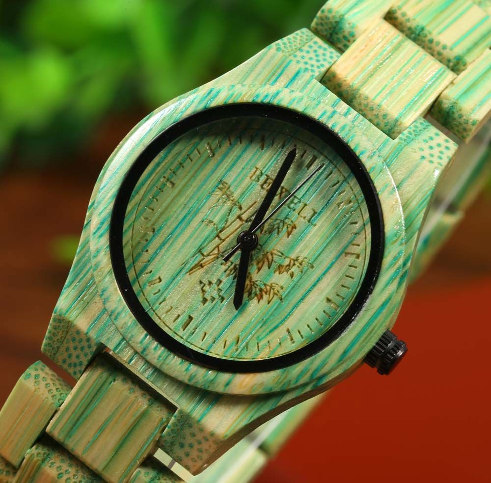 BEWELL Male Quartz Watch Colorful Bamboo Made