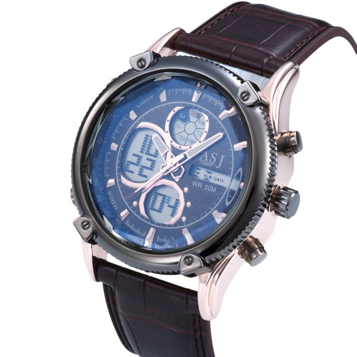 ASJ b003 Dual Movt Date and Day Display Men Quartz + Digital Watch