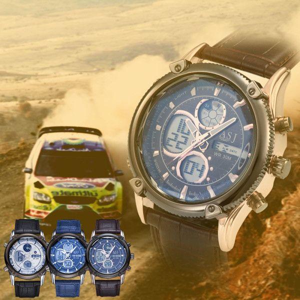 ASJ b003 Dual Movt Date and Day Display Men Quartz + Digital Watch