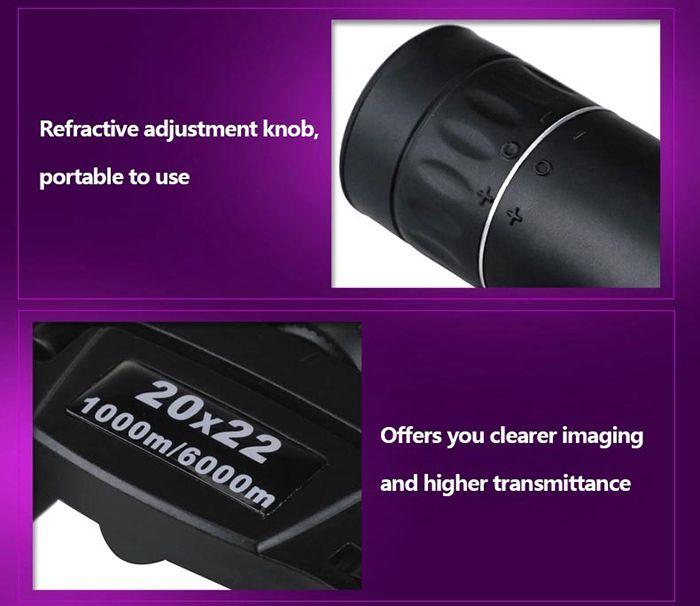 QANLIIY 20x22 Binocular BAK - 4 Prism with Center Focus Waterproof Function