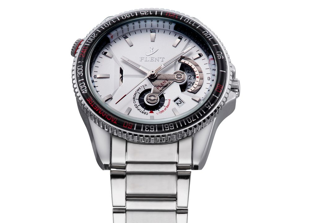 FLENT 7001 Fad Automatic Mechanical Watch Male Hollow-out Date Display Wristwatch