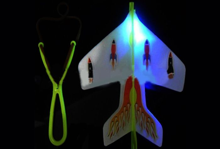 Slingshot LED Light Flare Catapult Airplane Outdoor Toy for Kid