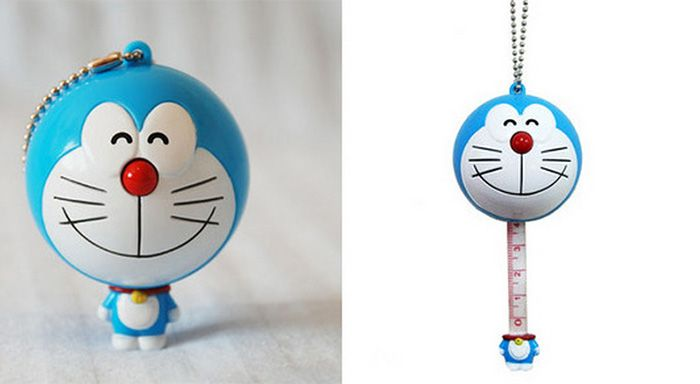 Mini 100CM Cartoon Figure Measuring Tape Ruler Auto Stretch Key Chain