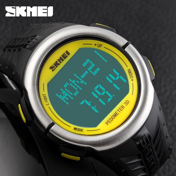 SKMEI 1058 Heart Rate Sports LED Watch with Pedometer Function Water Resistance Wristwatch