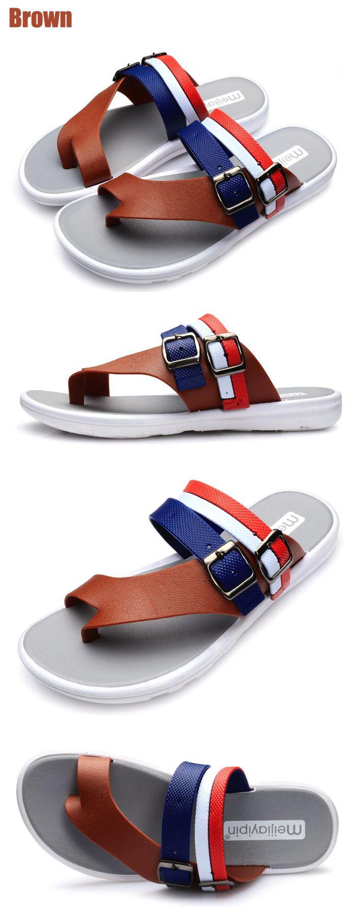 Summer Men Leisure Flat Sole Anti-slip Flip-flop Slipper for Outdoor / Home