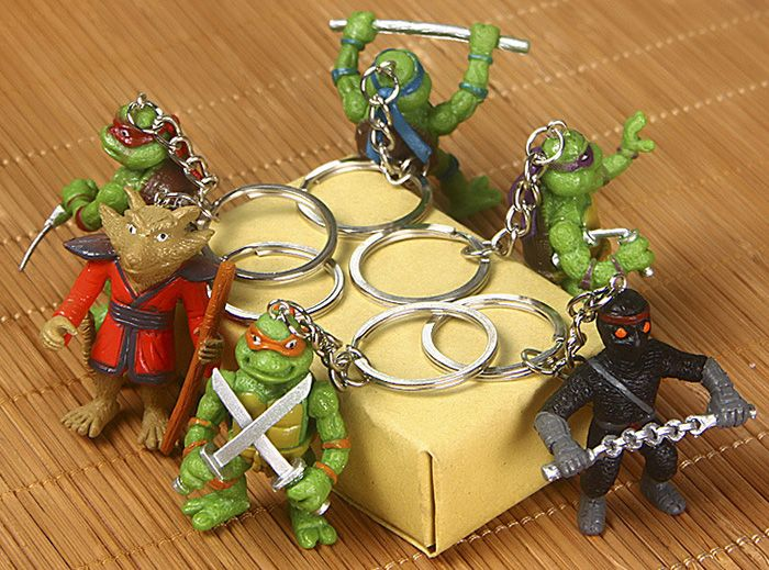 5cm 6PCs Movie Figure Turtle Key Chain Keyring Kid Toy Decoration for Bag Desktop