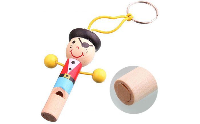 1PC Mini Cartoon Whistle Wooden Baby Kid Musical Development Toy