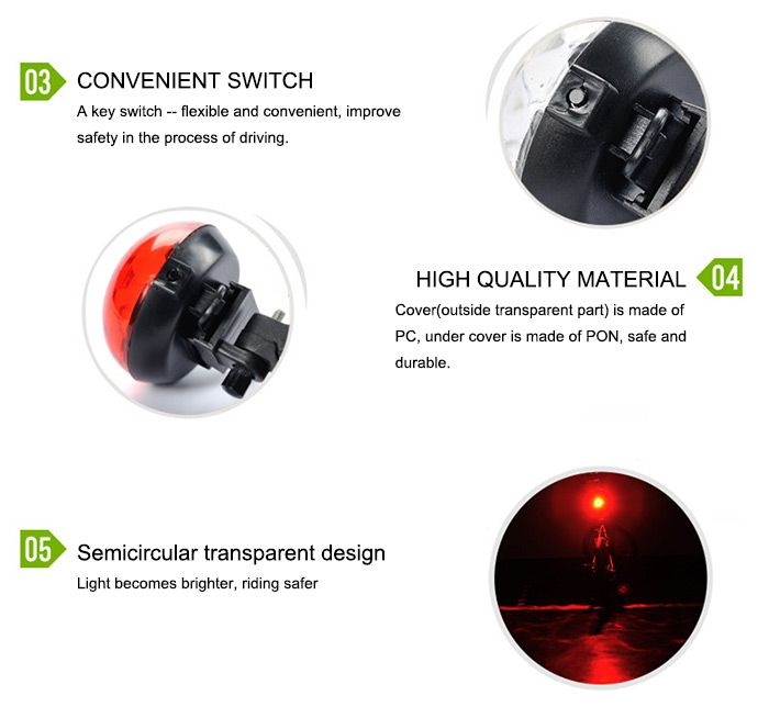 LEADBIKE A105 UFO Projection Safety LED Bicycle Tail Light