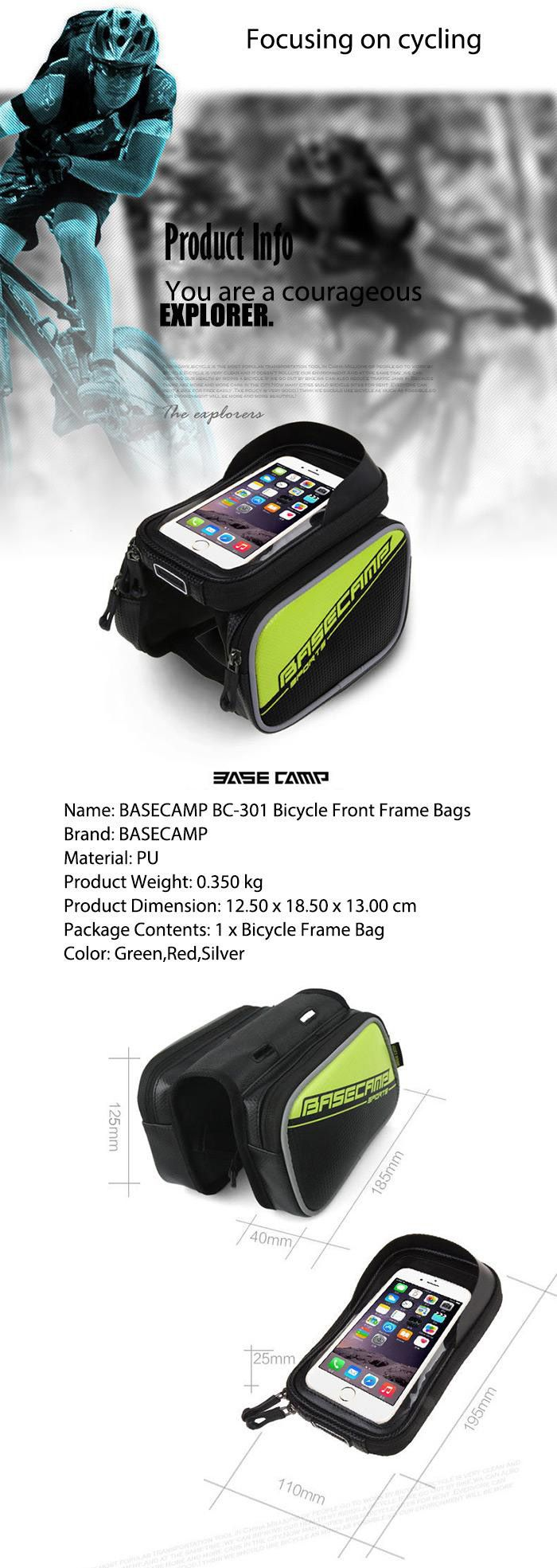 BASECAMP BC - 301 Bicycle Front Frame Bags Waterproof Tube Bag