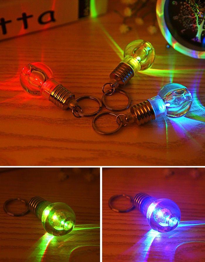 1pc Colorful LED Flashing Glass Bulb Keychain Key Ring for Decoration