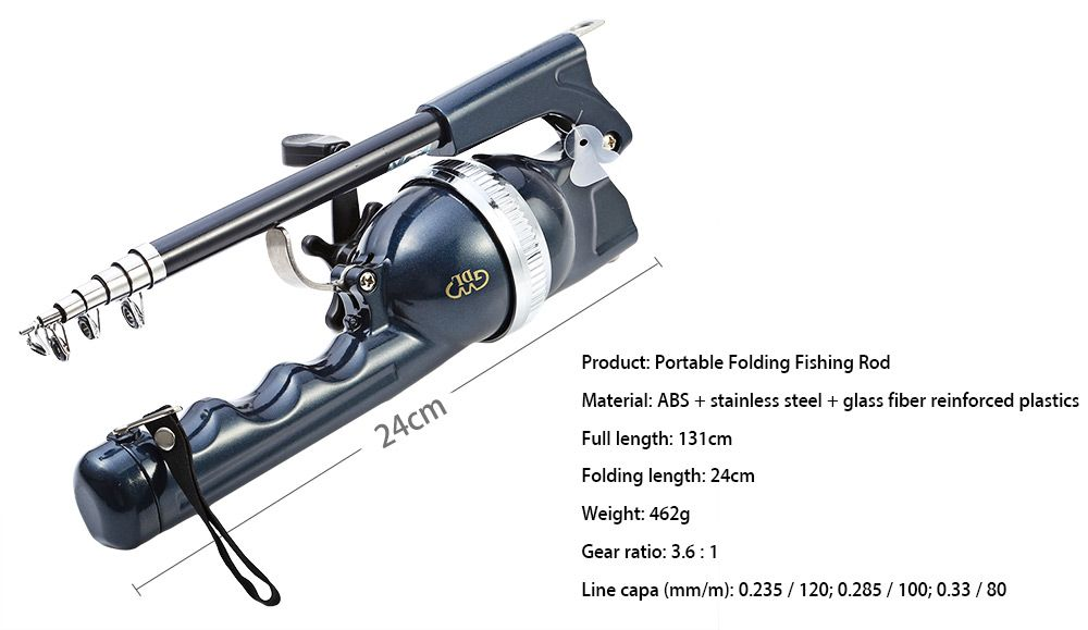 Folding Fishing Sea Rod Portable Fish Pole with Swimming Bladder