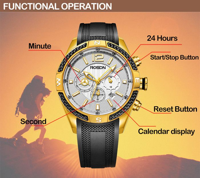 ROSDN Fashion Luminous Pointer Sports Quartz Watch for Men