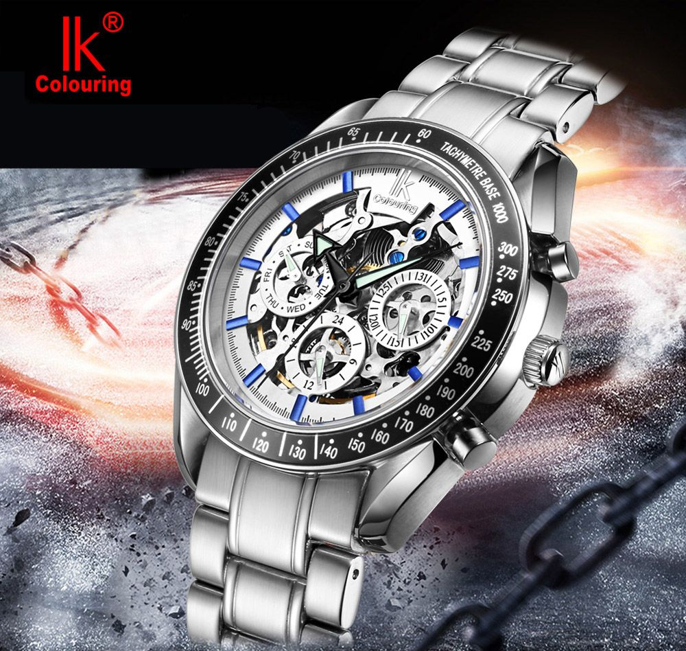 IK COLOURING Business Style Double-sided Hollow-out Dial Automatic Mechanical Male Watch