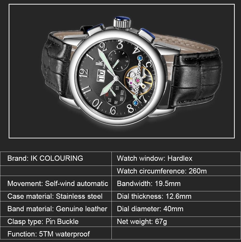 IK COLOURING Business Style Automatic Mechanical Male Watch with Imported Movement
