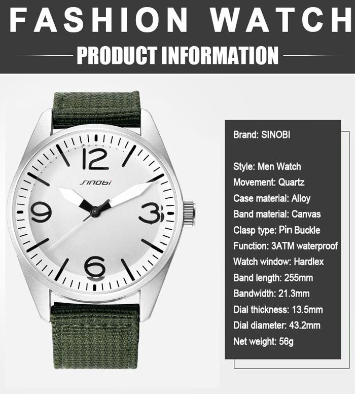 SINOBI Fashion Quartz Watch with Stereo Dial for Men