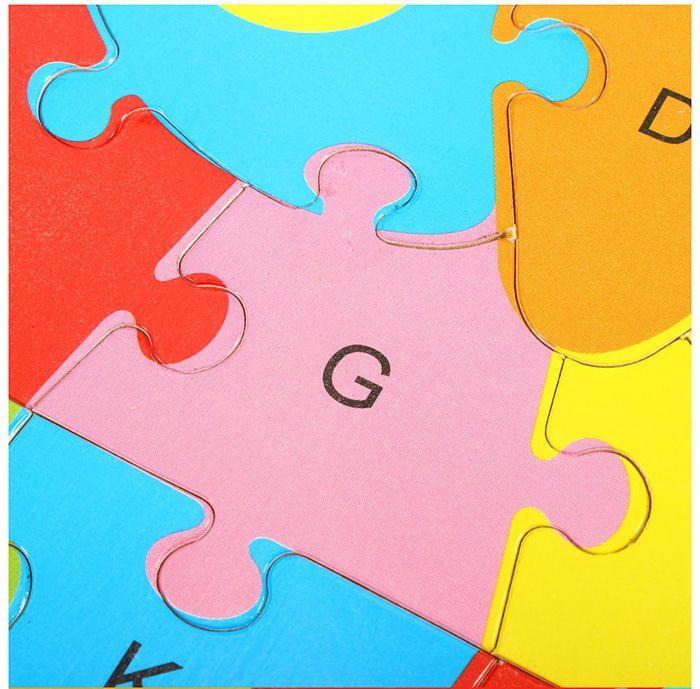 Animal Style Alphabet Wooden Puzzle Game Intelligent Toy - 4pcs / set