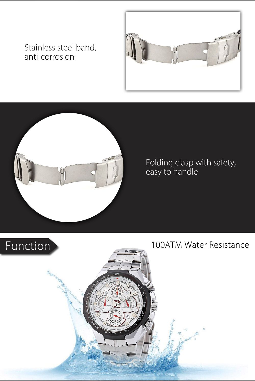 Valia 8609 100M Water Resistance Date Function Male Japan Quartz Watch with Luminous Analog Stainless Steel Strap Working Sub-dials