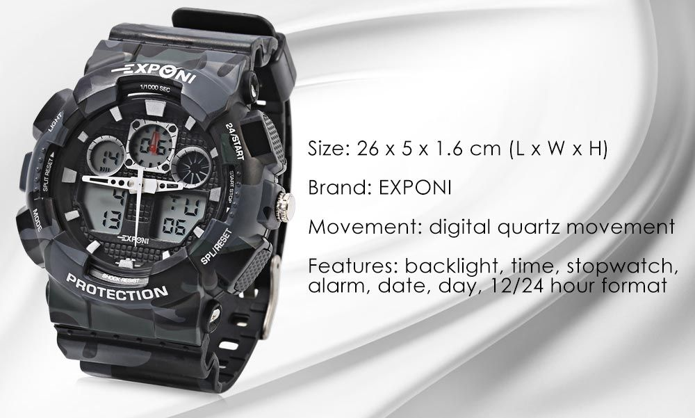 EXPONI 3169 Imported Movement Outdoor Sports Digital Quartz Watch