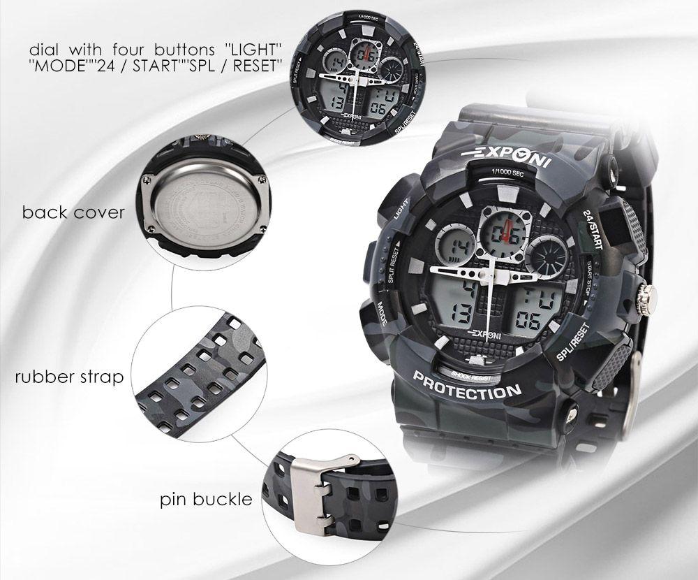 EXPONI 3169 Imported Movement Outdoor Sports Digital Quartz Watch