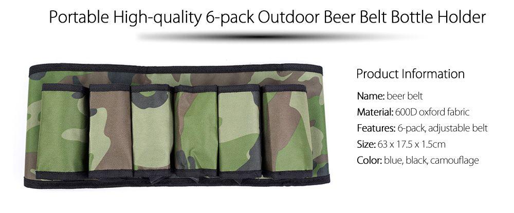 6-pack Portable High Quality Beer Belt Drink Bottle Holder Waist Bag for Outdoor Sports