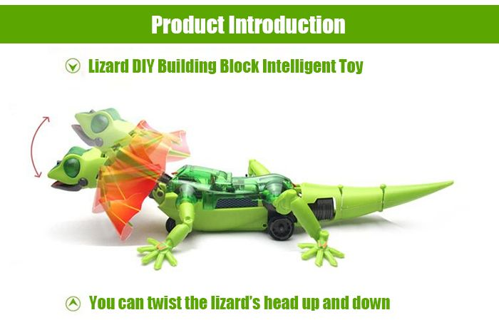 DIY Puzzle Infrared Sensor Electric Lizard Robot Science Education Assembly Toy for Children