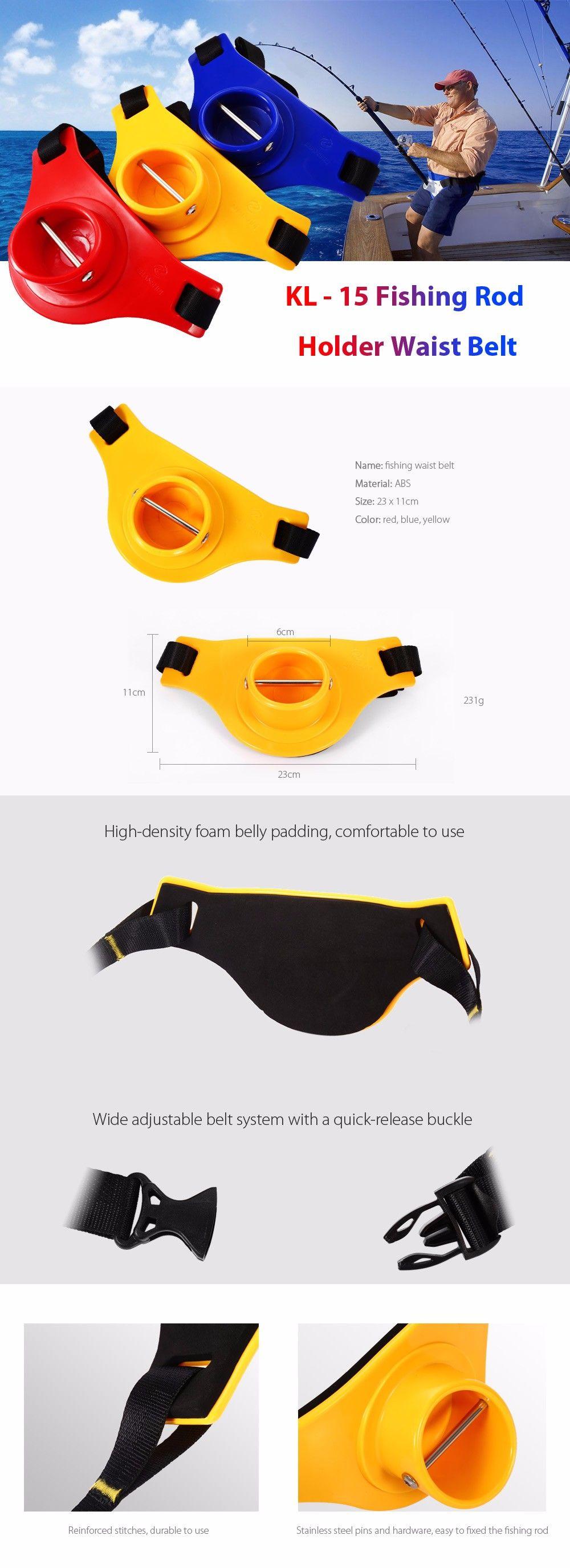KL - 15 Portable ABS Fishing Rod Holder Waist Belly Belt for Fisherman