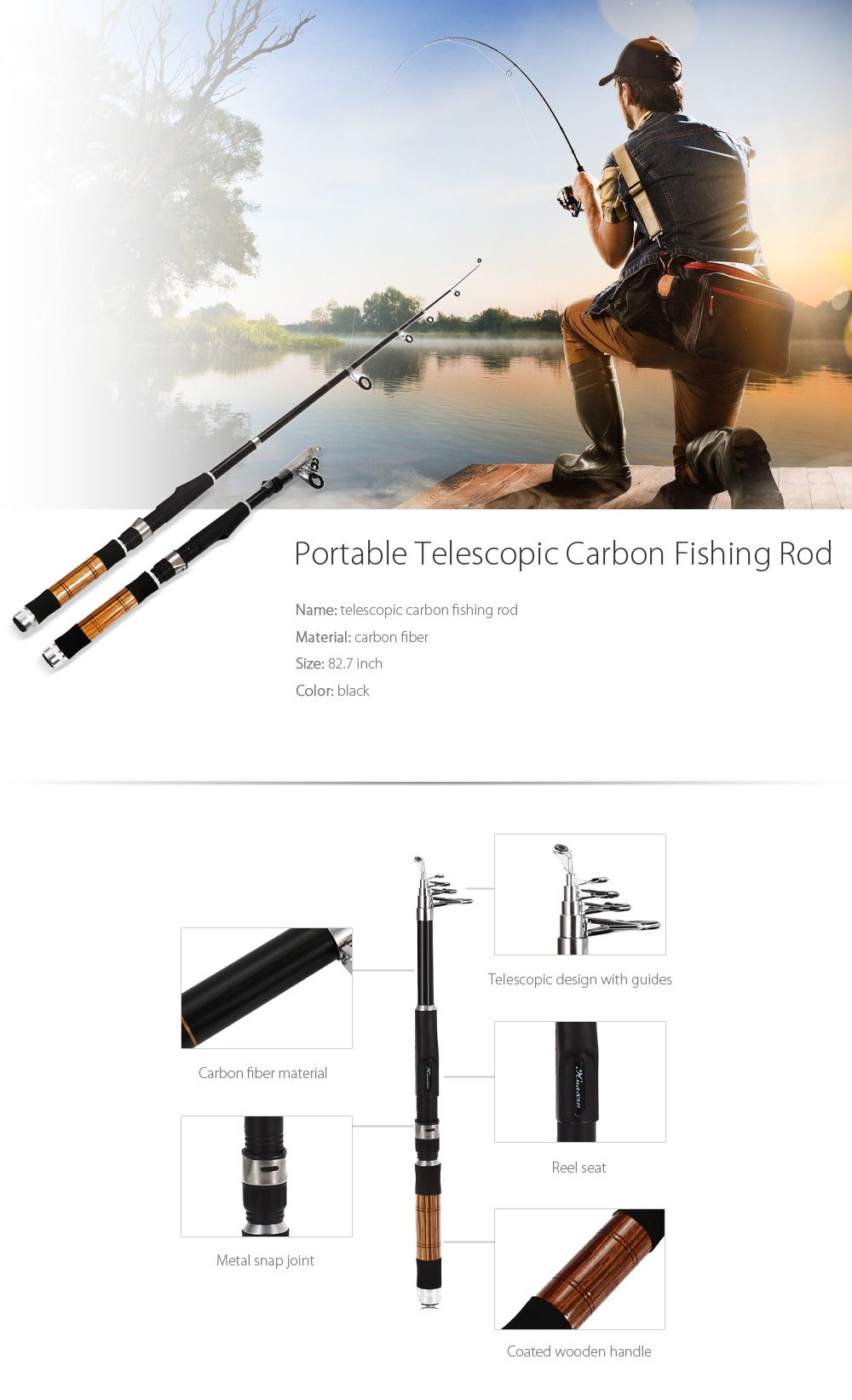 82.7 inch Portable Telescopic Carbon Fishing Rod Fish Pole