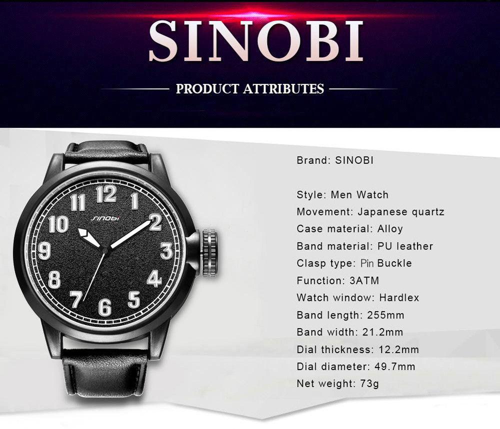 SINOBI Fashion Frosted Surface Dial Quartz Watch for Men