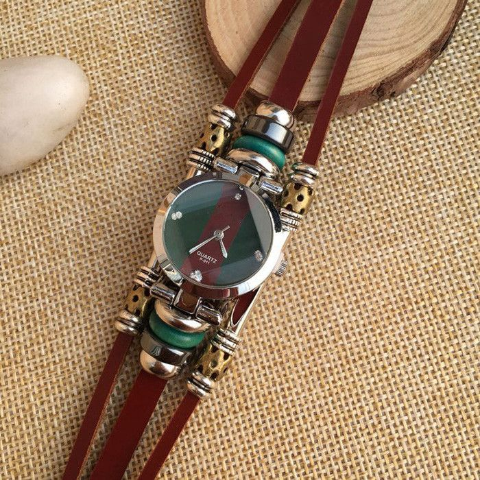 pqsz p-011 Leather Band Women Beads Quartz Watch