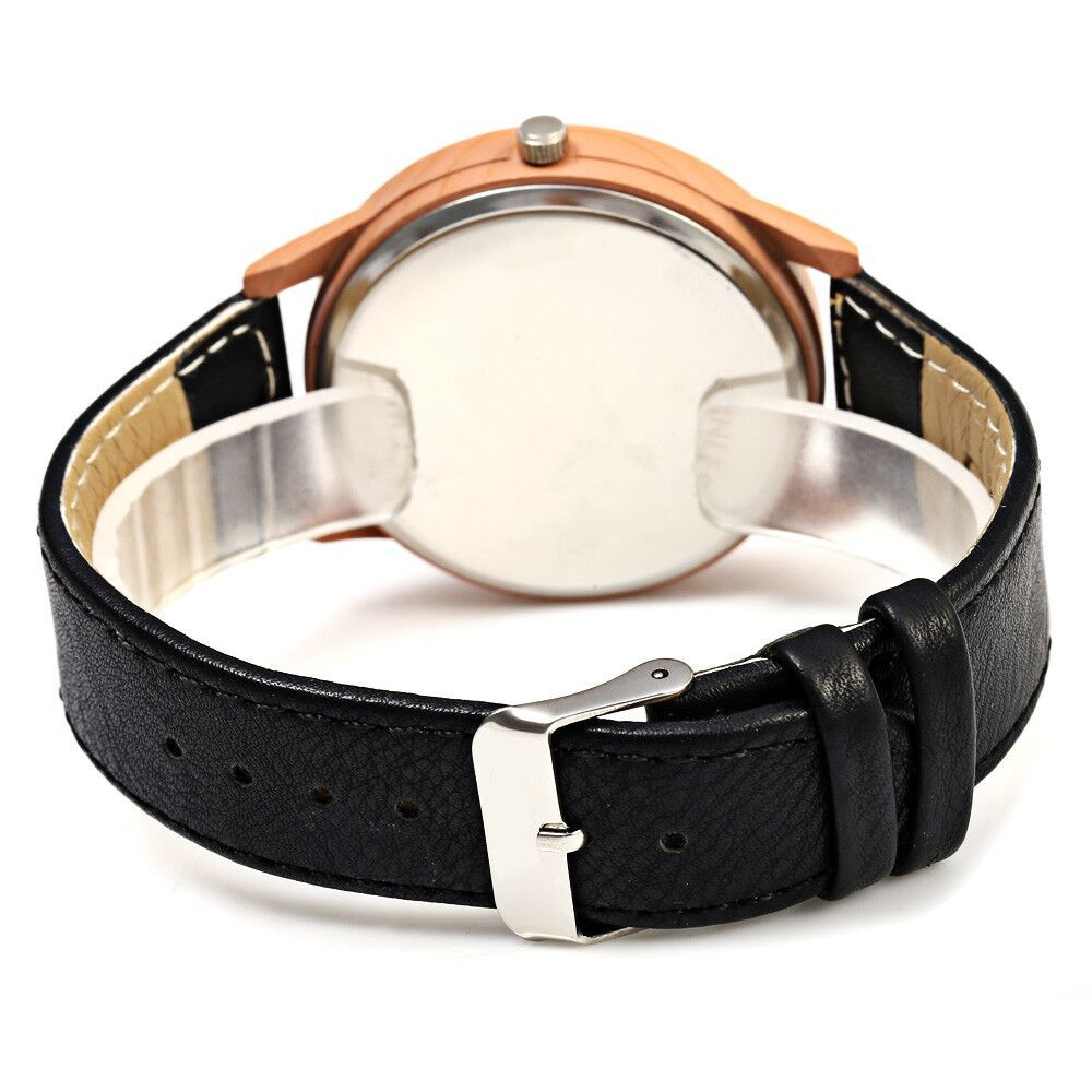 SONSDO 6635 Quartz Unisex Watch Wood Texture with Leather Band