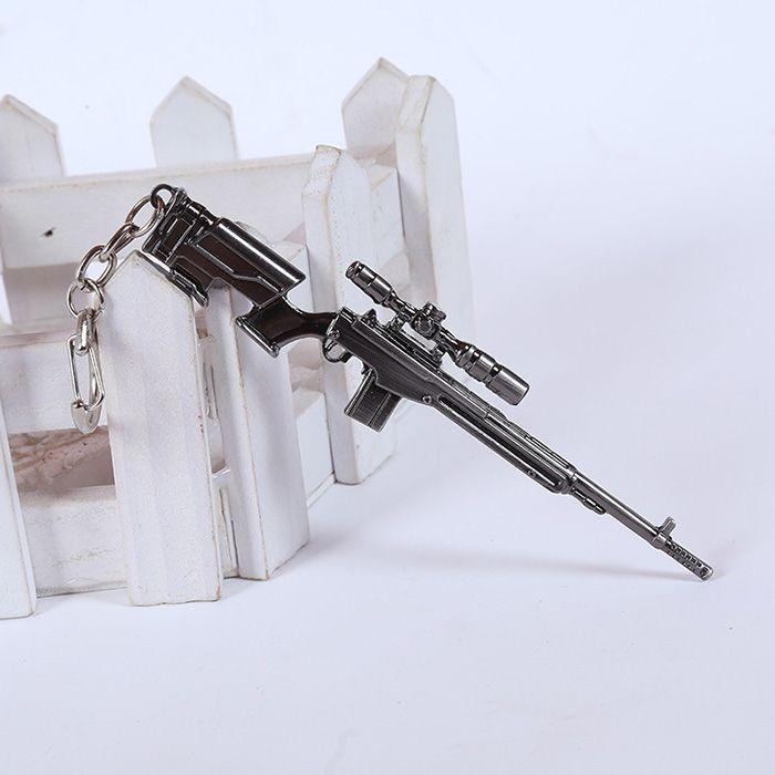 12cm Key Chain Sniping Rifle Hanging Pendant Metal Keyring for Bag Decoration